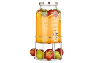 Maxwell & Williams Juice Jar & Stand 5.6L Silver Gift Boxed