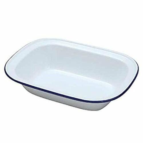 Enamel Pie Dish 28cm - White with Black Rim
