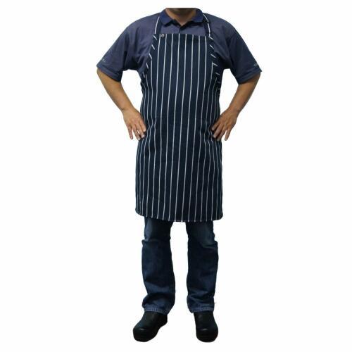Bib Apron - Navy/White Striped No Pocket