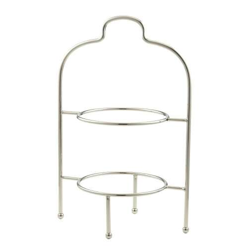 Plate Stand Round 2 Tier- Chrome Plated