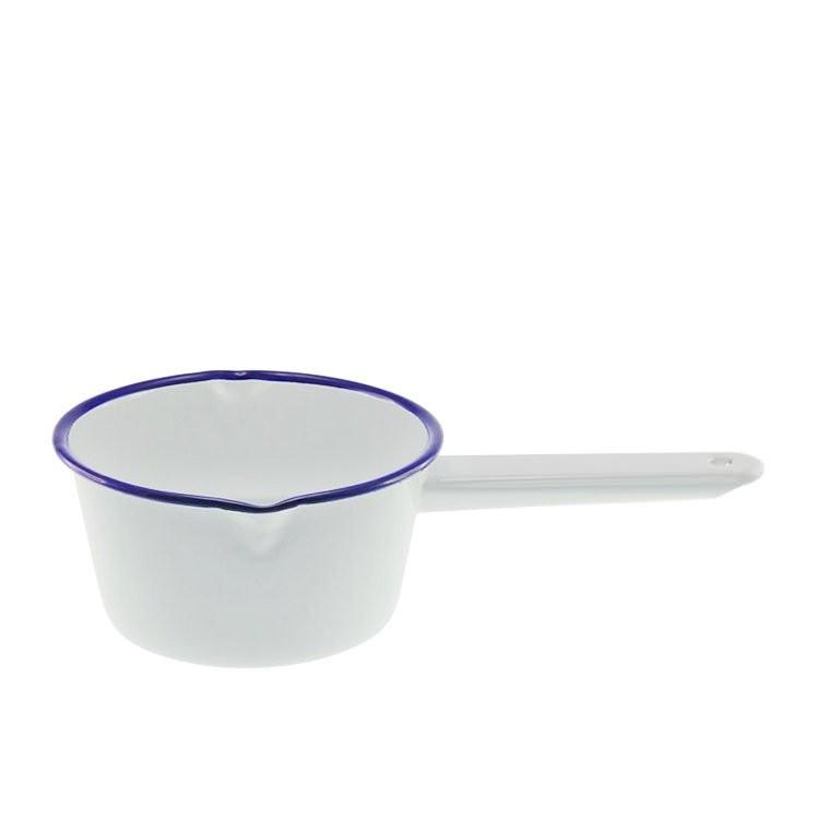 Enamel Milk Saucepan (2 Lips) Wh/Blue Rim