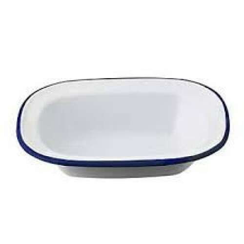 Enamel Oblong Pie Dish White/Blue 16x12