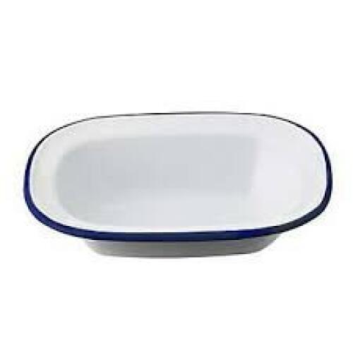 Enamel Oblong Pie Dish White/Blue 20x15cm