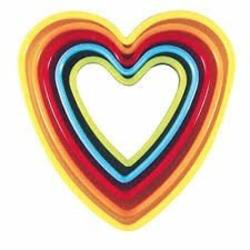 Cookie Cutter Heart 5 Piece Coloured