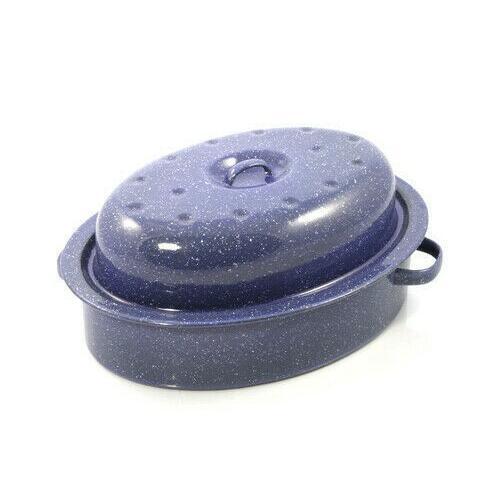 Roast Pan - Oval with Lid 380x280x170mm Blue Enamel