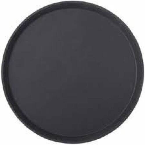 Bar Tray Non-Slip Black Round 35cm